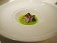 (2)うすいえんどう豆のスープ、えぞほら貝のソテー