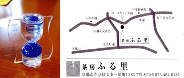 水時計と「ふる里」の地図