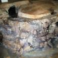 仕上03:緑、茶、灰色を岩や地面に塗る
